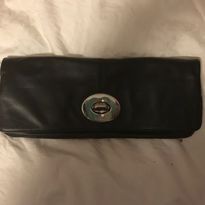 Black leather Coach Clutch
